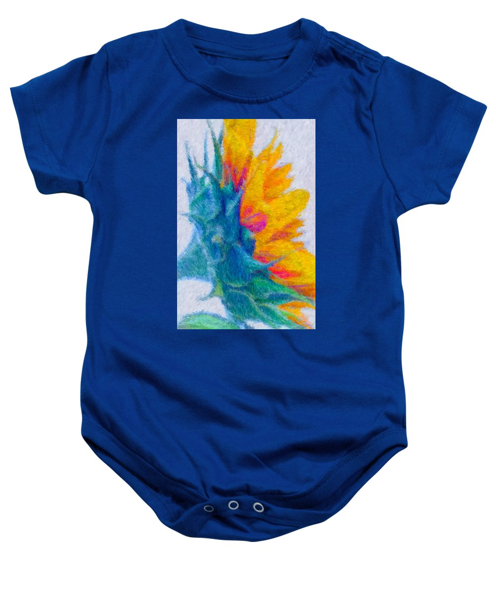 Yellow Baby Onesie featuring the photograph Sunflower Profile Impressionism by Heidi Smith