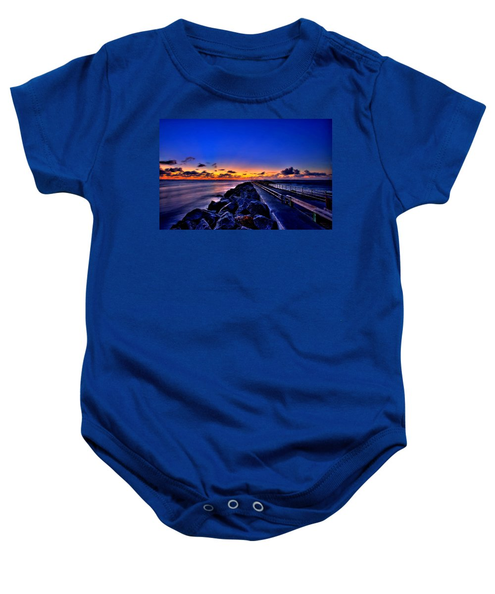 Sunset Baby Onesie featuring the painting Sunrise On The Pier by Bruce Nutting