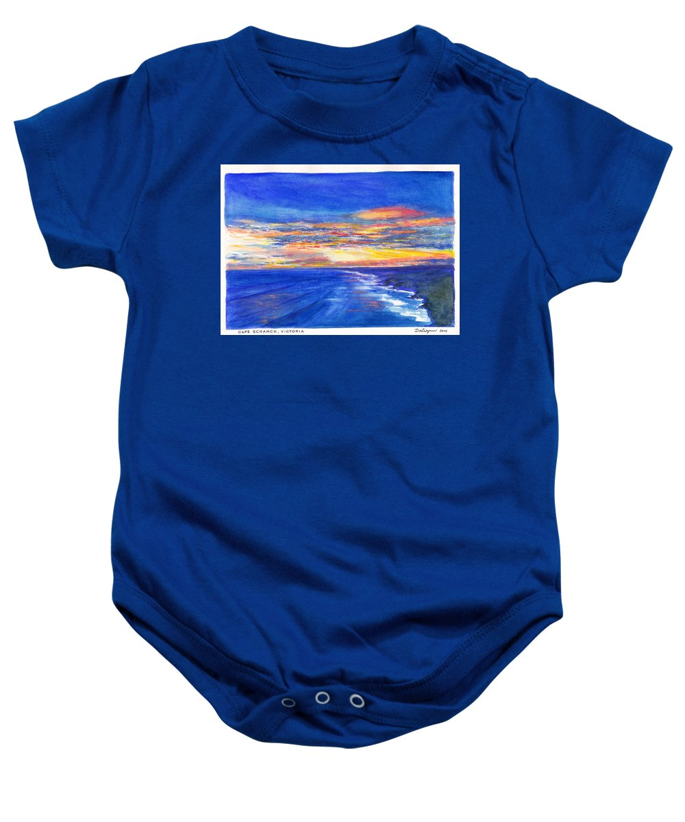 Cape Schanck Baby Onesie featuring the painting Sunset Over Point Lonsdale As Viewed From Cape Schanck by Dai Wynn