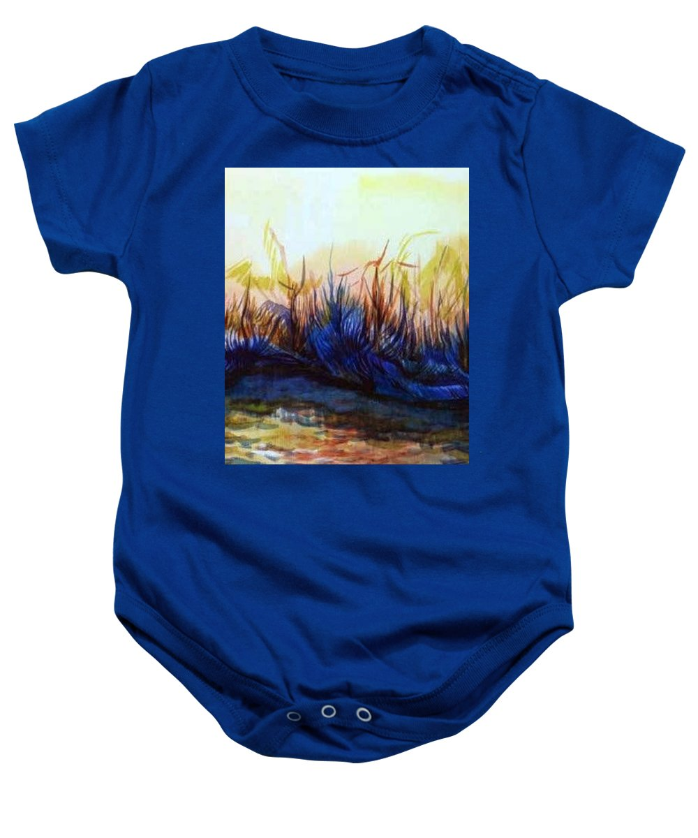 Landscape Baby Onesie featuring the painting Sunset Reflections by Anna Duyunova
