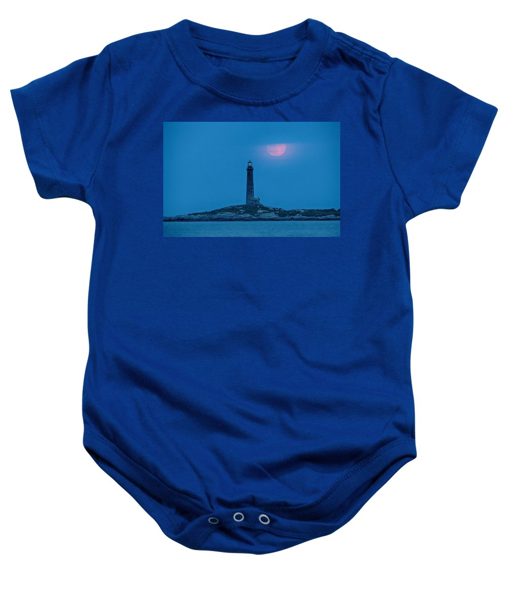 Lighthouses Of New England Baby Onesie featuring the photograph Super Moon Over Thacher Twin Lights by Jeff Folger