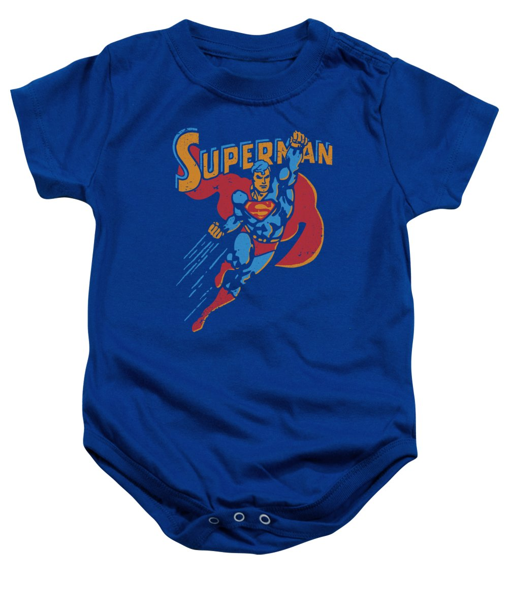 Superman Baby Onesie featuring the digital art Superman - Life Like Action by Brand A