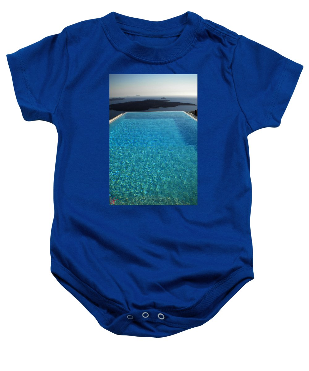 Colette Baby Onesie featuring the photograph Swim Above The Santorini Island by Colette V Hera Guggenheim