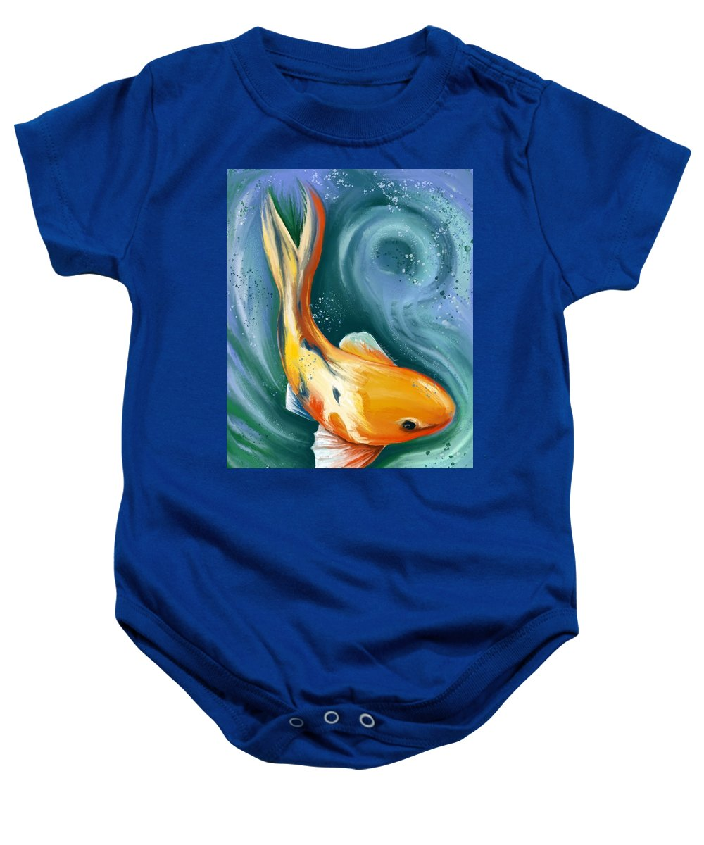 Orange Baby Onesie featuring the drawing Swirls Of Koi by Heidi Creed