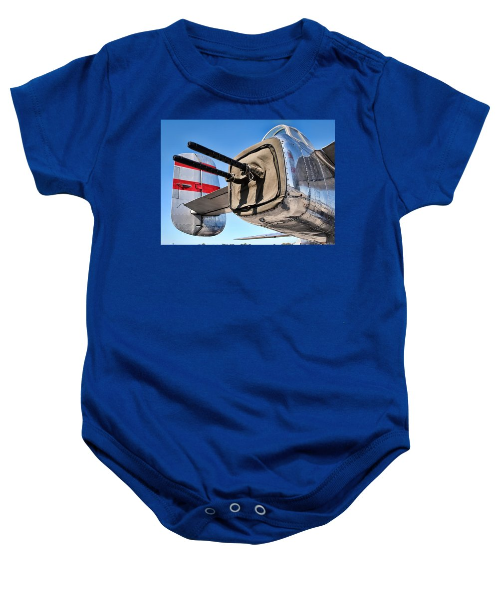 B-25 Baby Onesie featuring the photograph Tail Gunner by David Hart