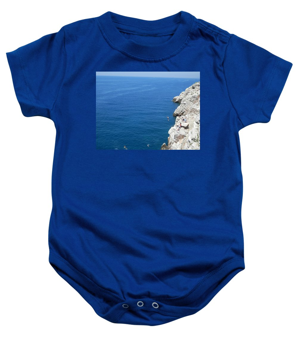 Sea Baby Onesie featuring the photograph Taking The Plunge by Pema Hou