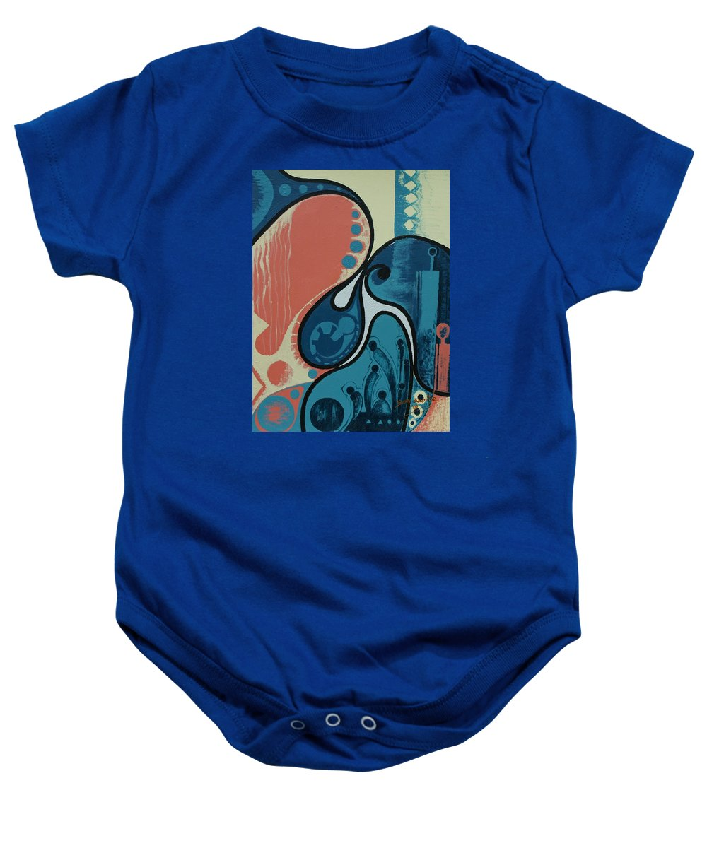 Abstract Baby Onesie featuring the painting Tamed by Sony Ejiro Akpotor