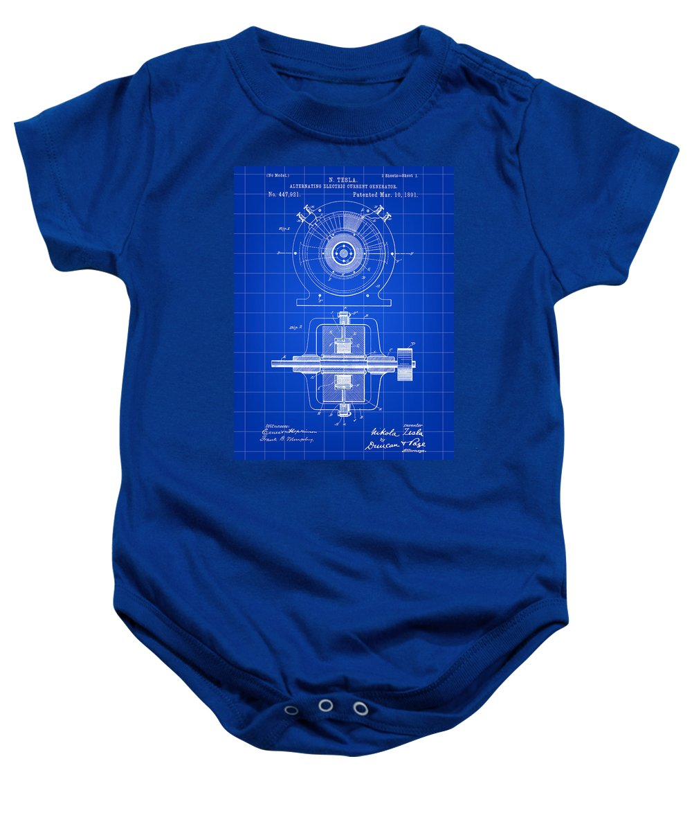 Tesla Baby Onesie featuring the digital art Tesla Alternating Electric Current Generator Patent 1891 - Blue by Stephen Younts