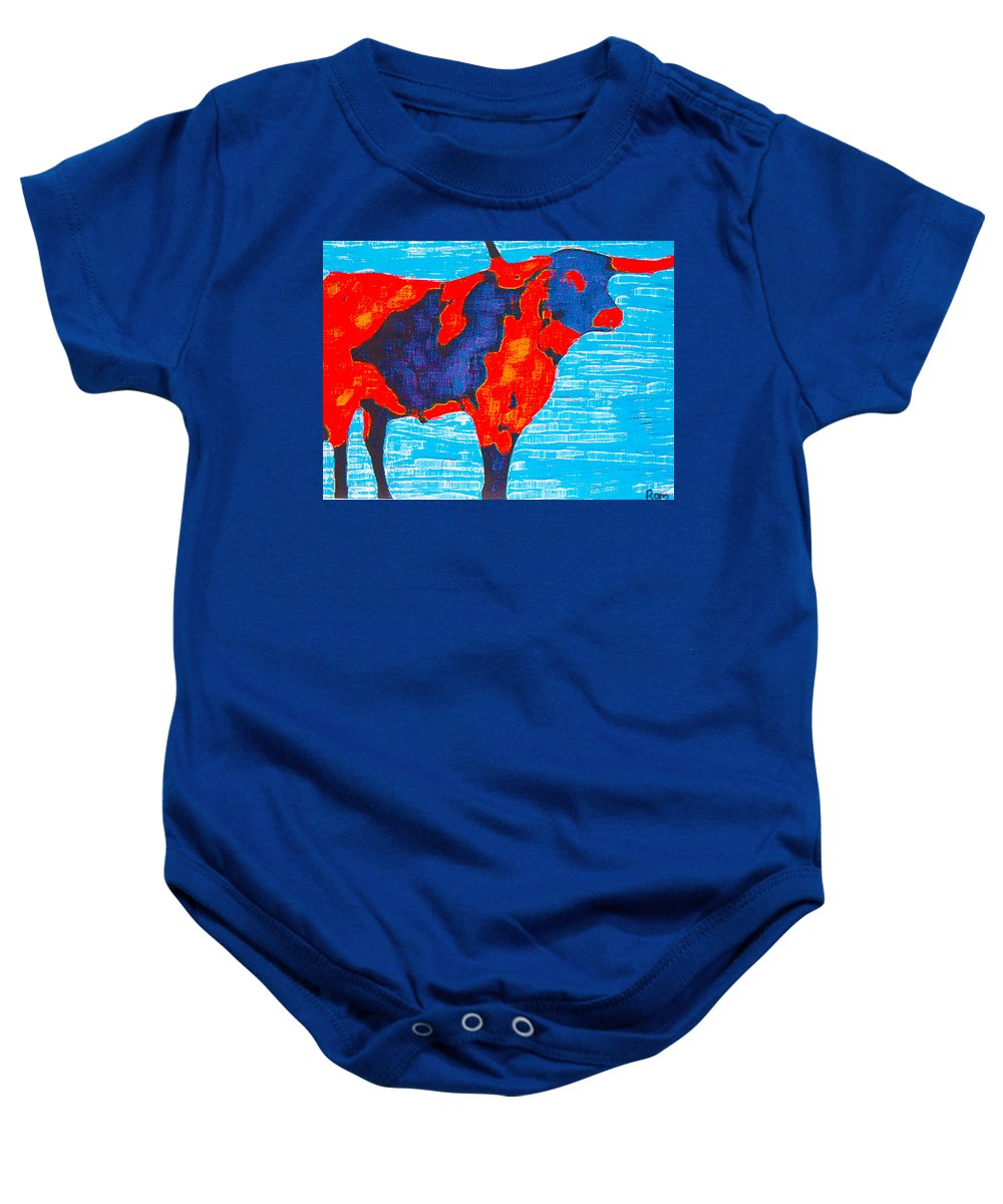 Cows Baby Onesie featuring the painting Texan Longhorn by Robert Margetts
