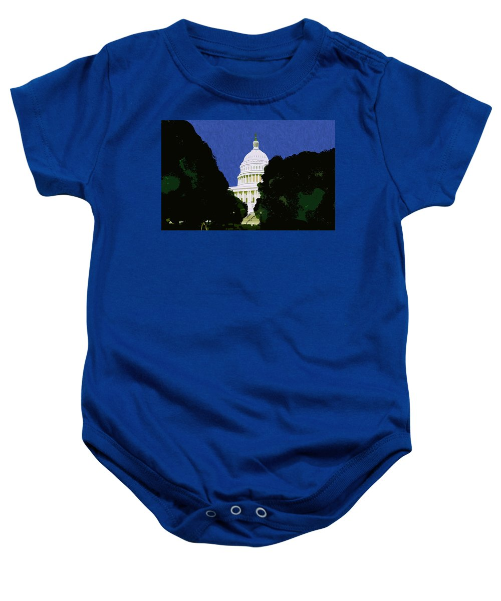 Capitol Baby Onesie featuring the painting The Capitol by Pharris Art