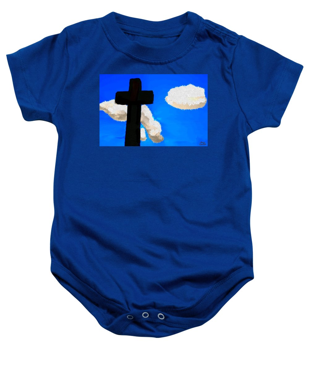 Clouds Baby Onesie featuring the painting The Cross Of Christ by Bruce Nutting