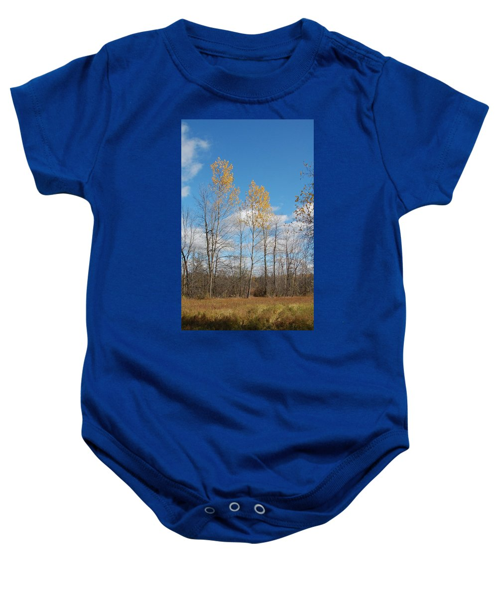 Tree Baby Onesie featuring the photograph The Last Leaves by Valerie Kirkwood