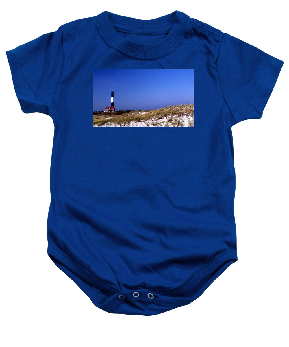 Lighthouses Baby Onesie featuring the photograph The Light On Fire Island by Skip Willits