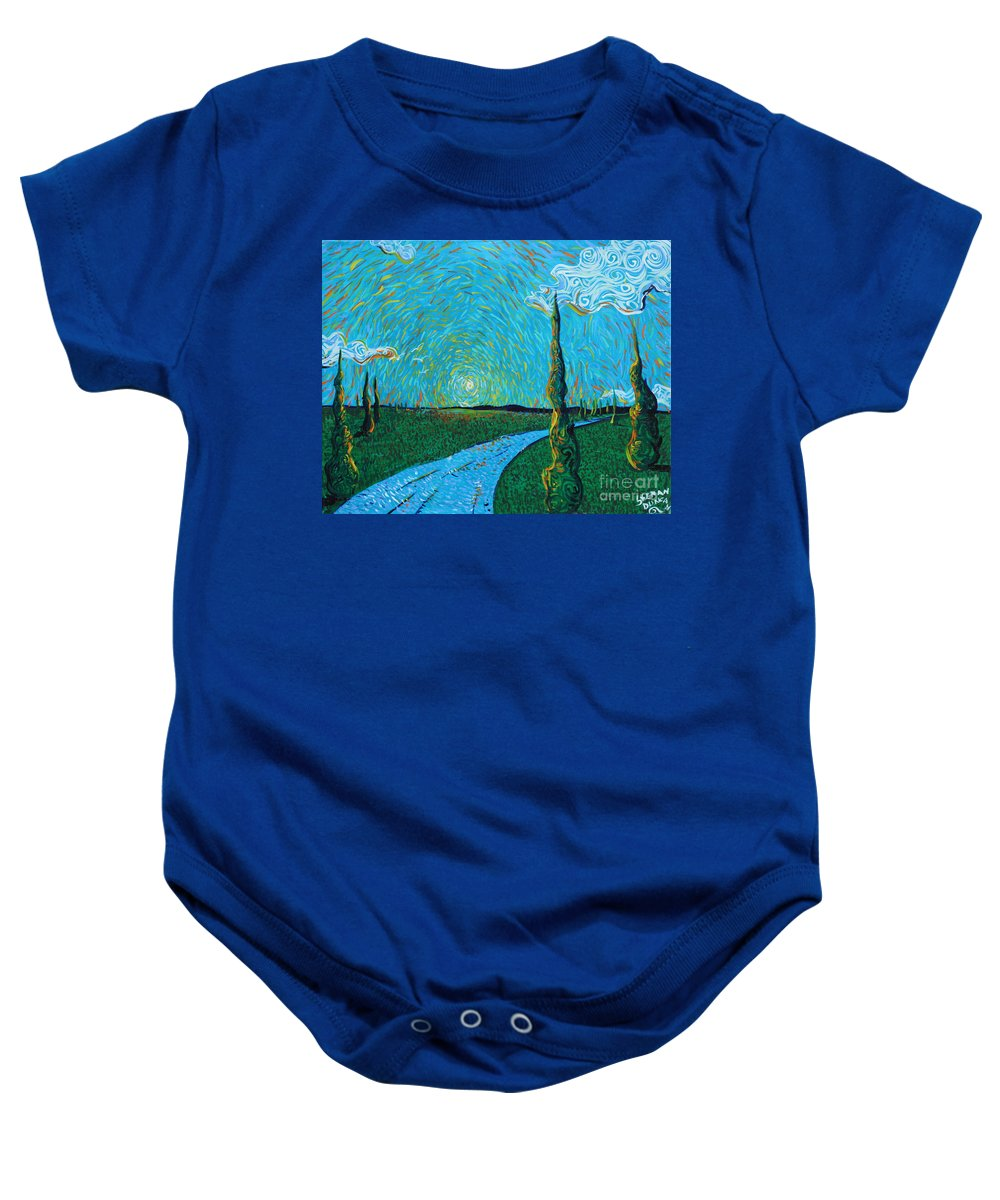 Landscape Baby Onesie featuring the painting The Long Blue Road by Stefan Duncan