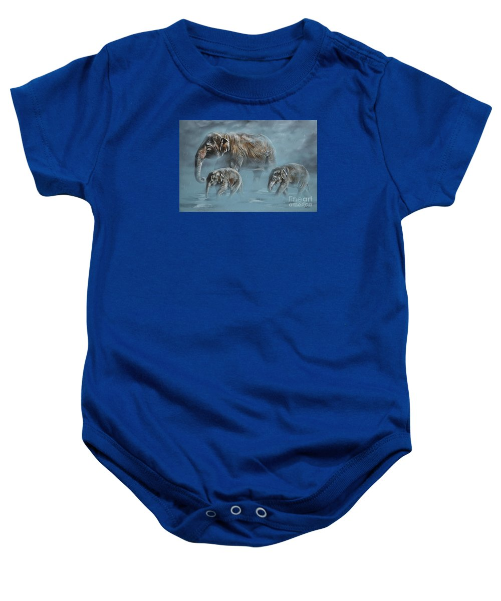 Asian Elephants Baby Onesie featuring the painting The Mist by Lachri