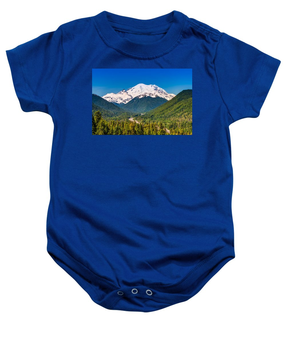 America Baby Onesie featuring the photograph The Mountain And The Valley by Rich Leighton