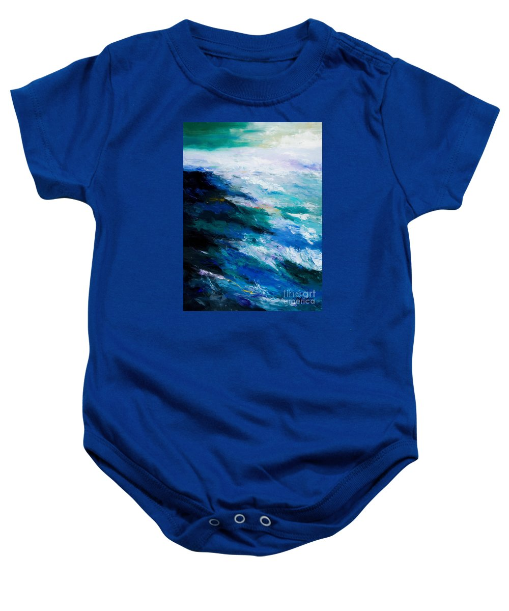 Seascape Baby Onesie featuring the painting Thunder Tide by Larry Martin