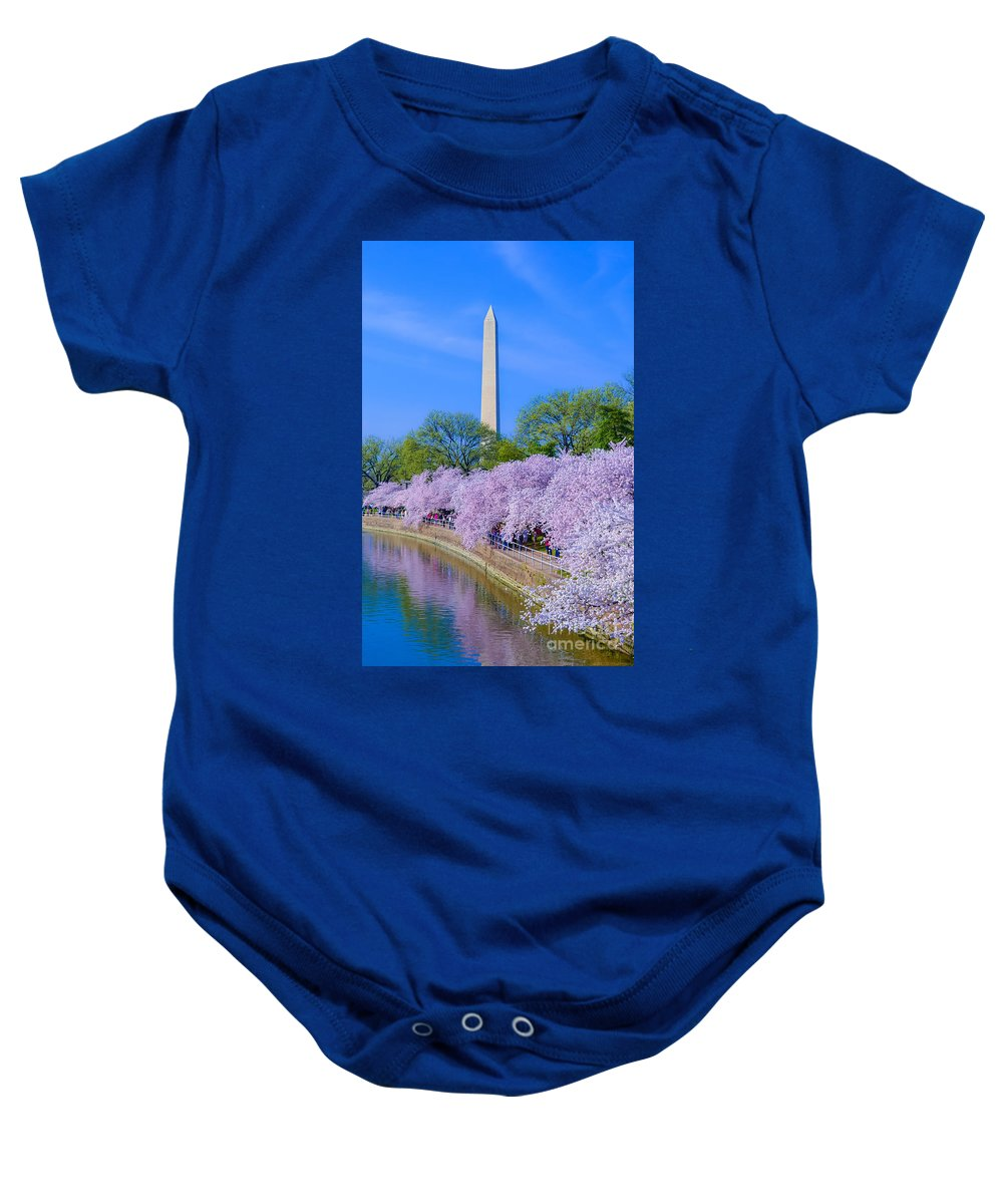 2012 Centennial Celebration Baby Onesie featuring the photograph Tidal Basin And Washington Monument With Cherry Blossoms Vertical by Jeff at JSJ Photography