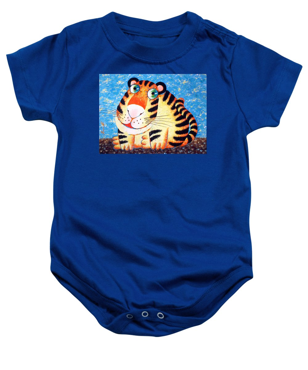 Tiger Baby Onesie featuring the painting Tiger by Sergey Lipovtsev
