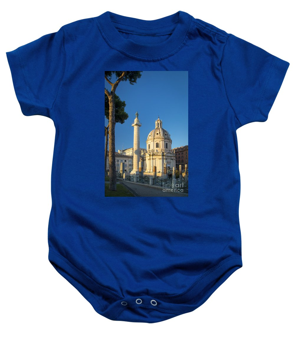 Architectural Baby Onesie featuring the photograph Trajans Column - Rome by Brian Jannsen