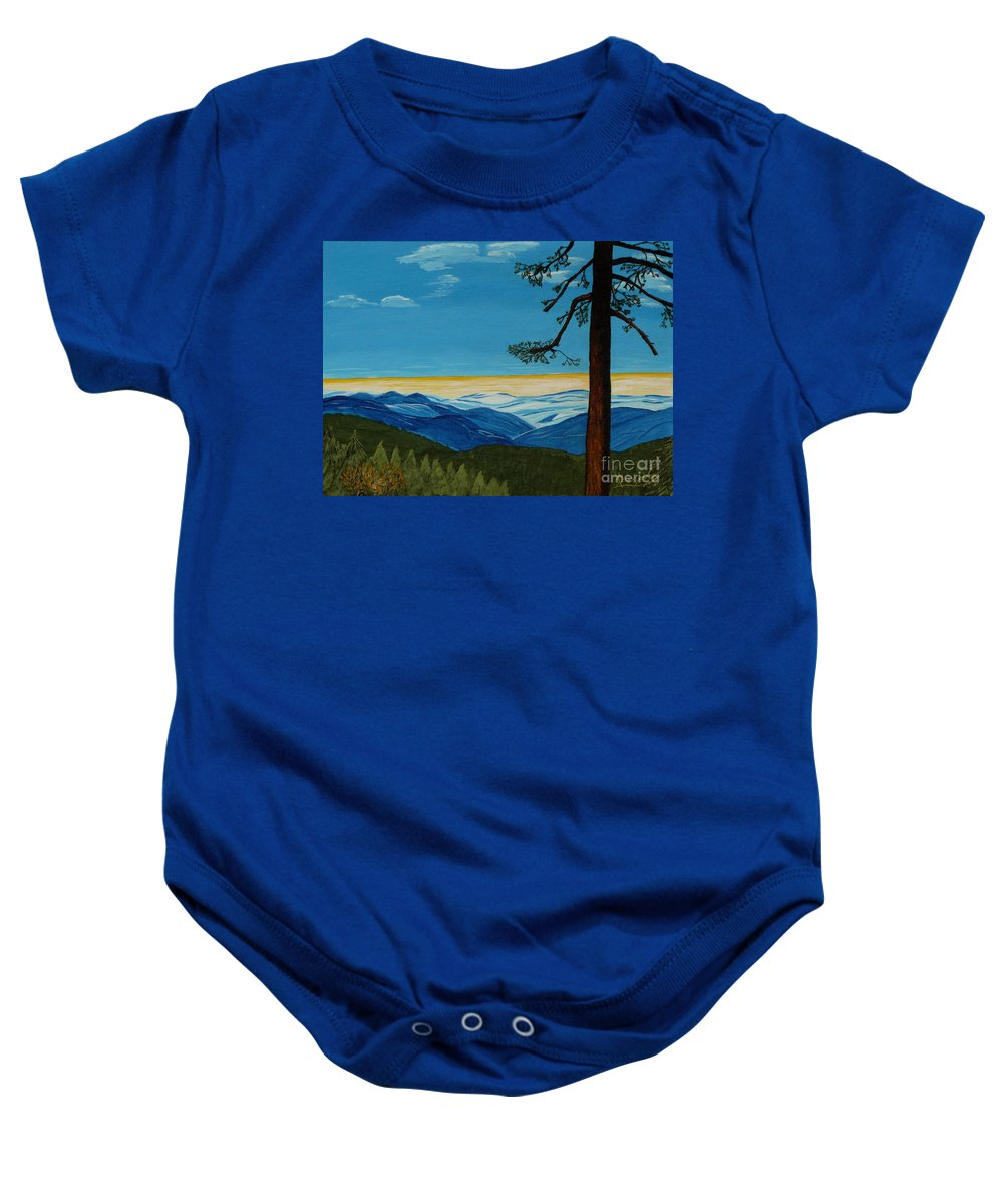 Mountain Baby Onesie featuring the painting Tranquil Solitude by Anthony Dunphy