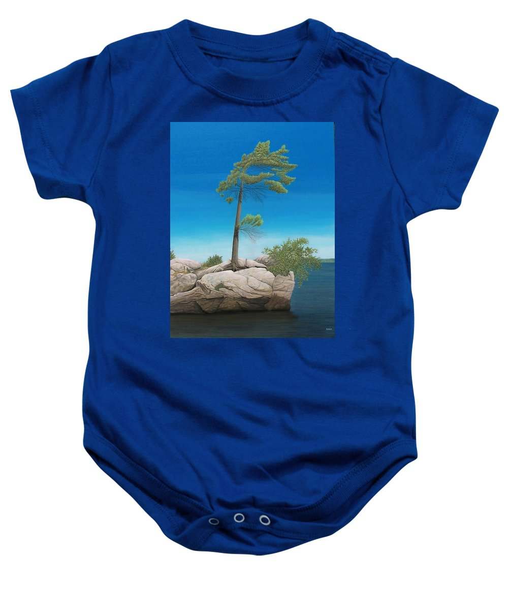 Landscapes Baby Onesie featuring the painting Tree In Rock by Kenneth M Kirsch