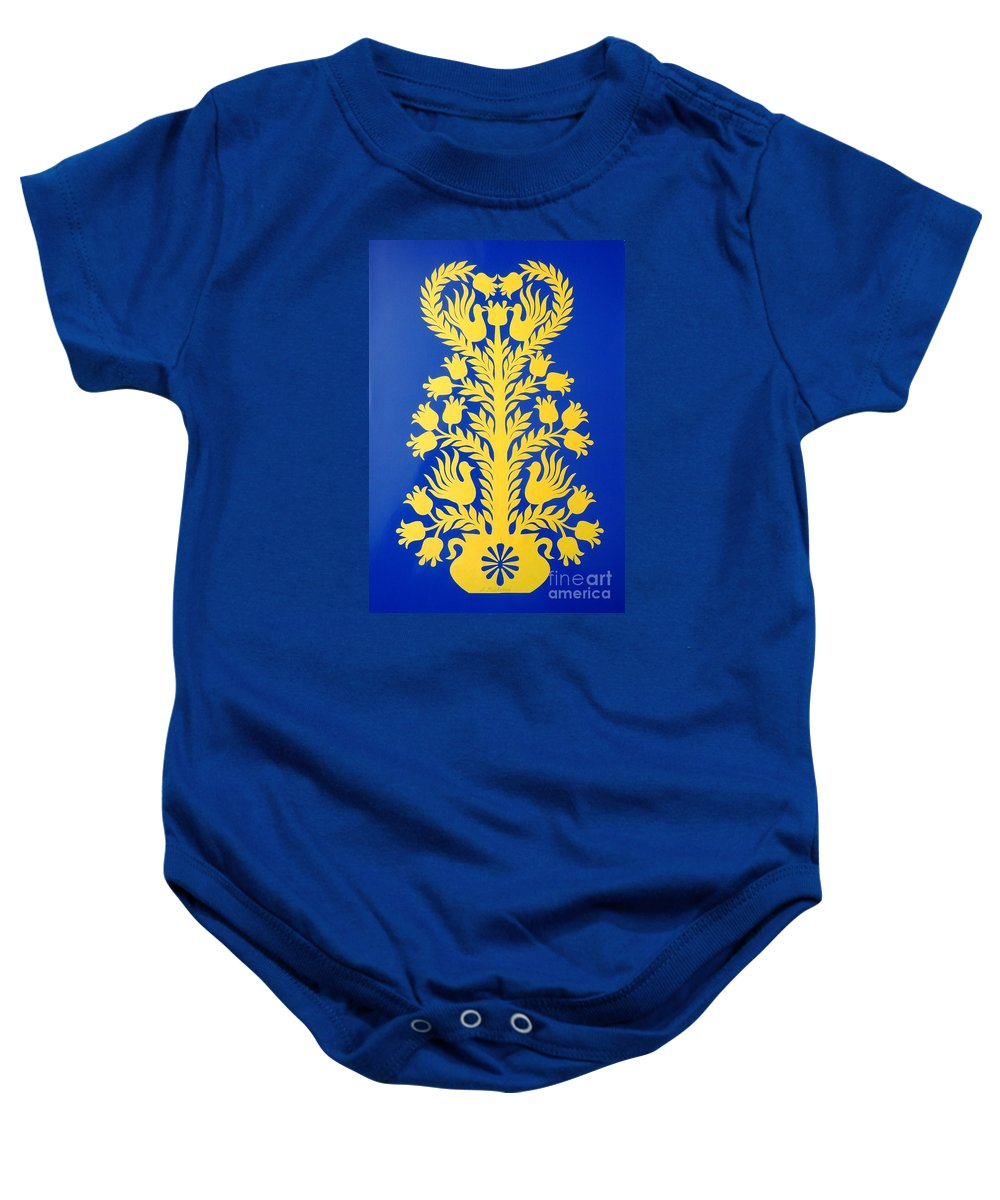 Floral Baby Onesie featuring the painting Tree Of Love by Loreta Mickiene