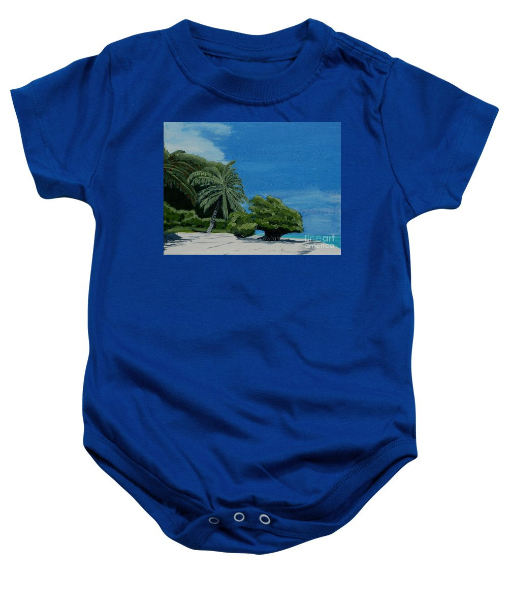 Beach Baby Onesie featuring the painting Tropical Beach by Anthony Dunphy
