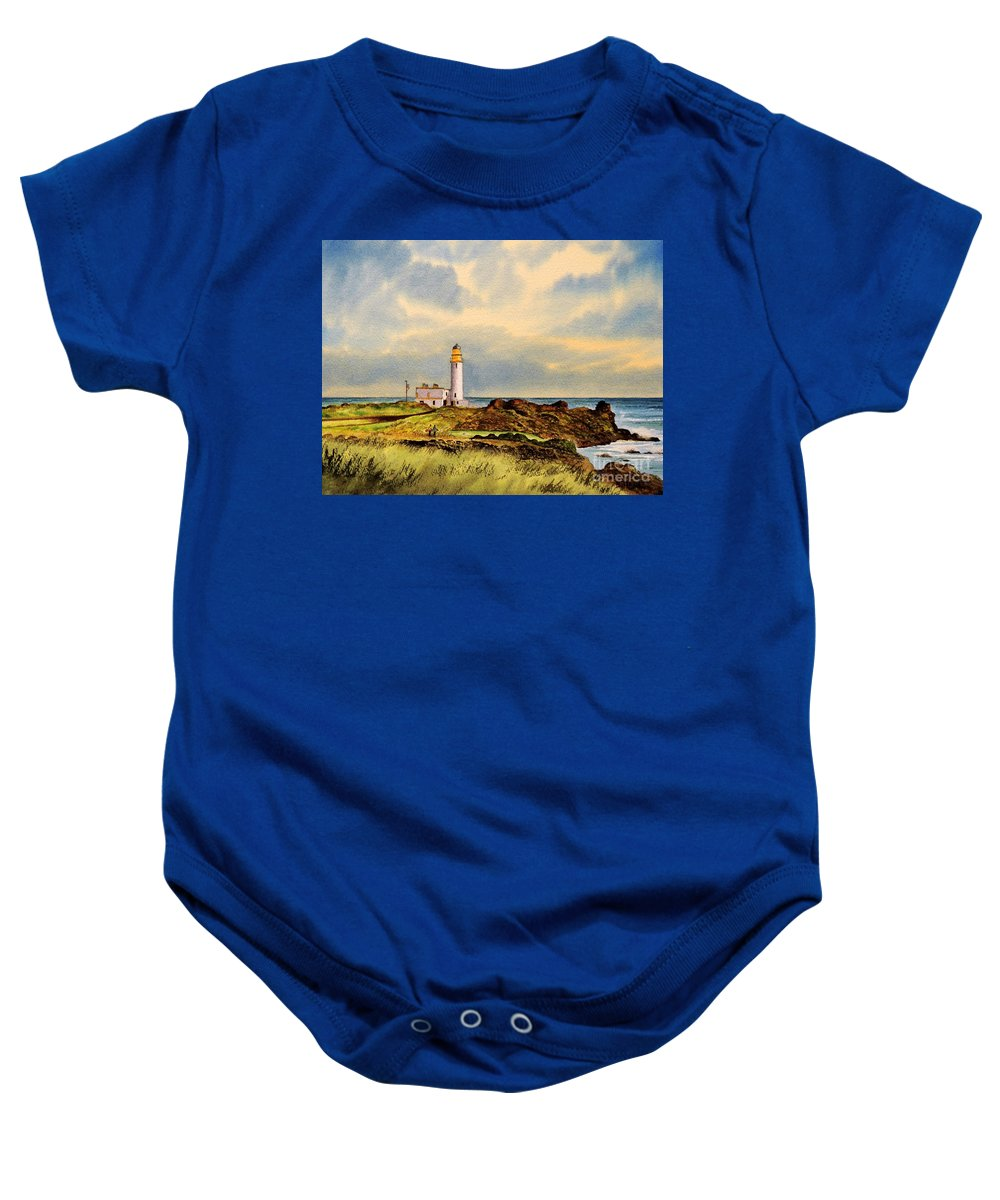Golf Baby Onesie featuring the painting Turnberry Golf Course 9th Tee by Bill Holkham