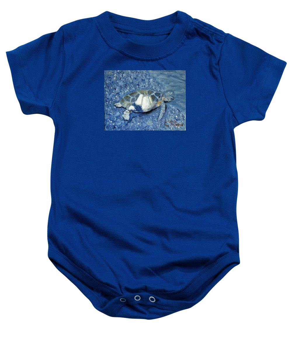 Turtle Baby Onesie featuring the painting Turtle On Black Sand Beach by Laurie Morgan