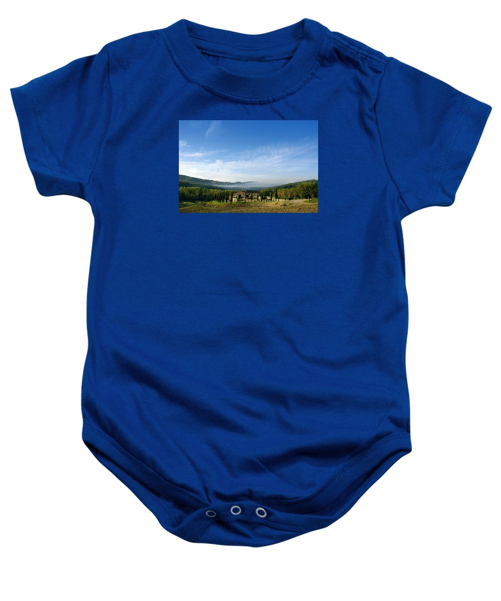 Tuscany Baby Onesie featuring the photograph Tuscan Sky Vineyard by Norman Pogson