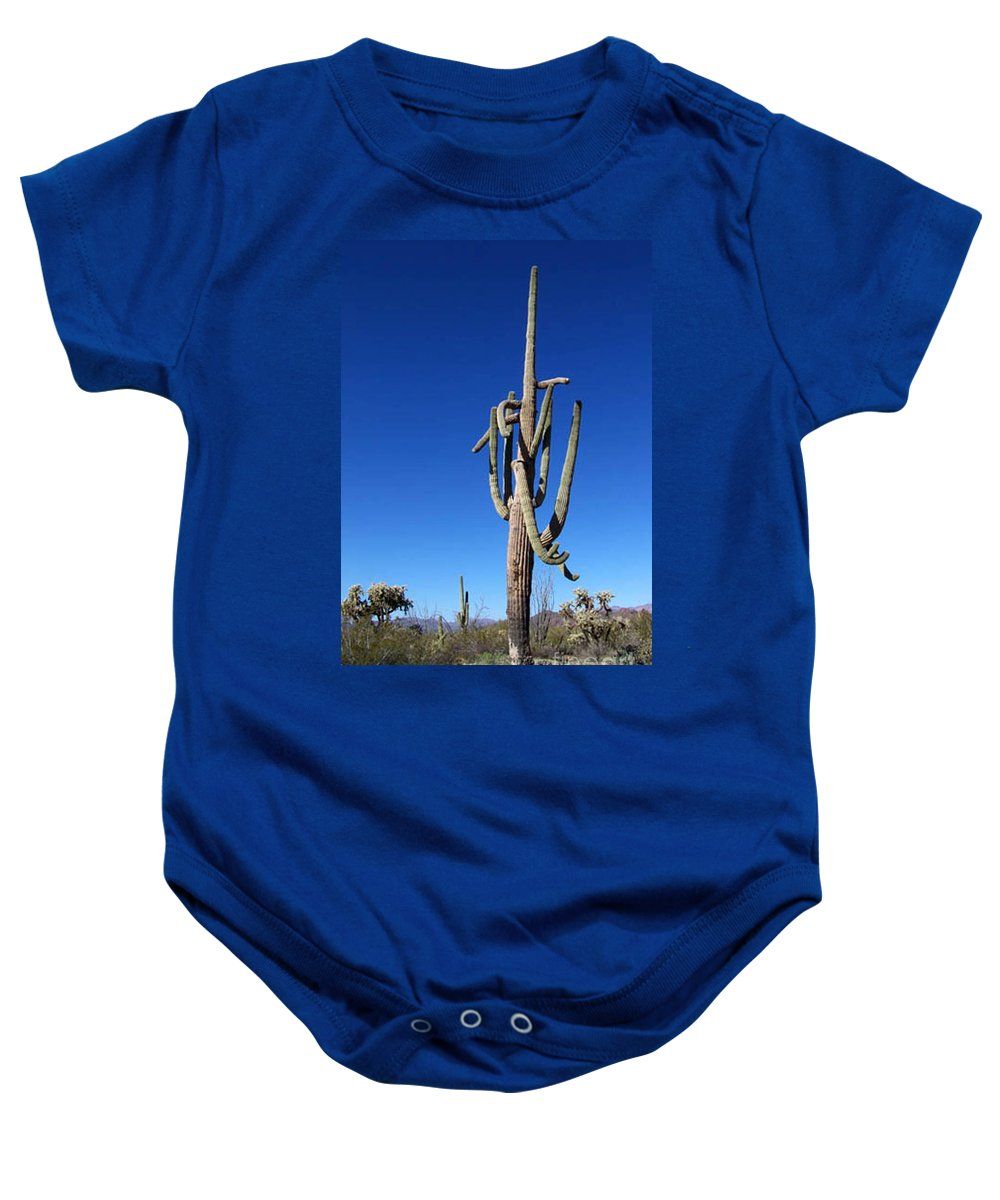 Sahuaro Baby Onesie featuring the photograph Twisted Sentinal by Kathy McClure
