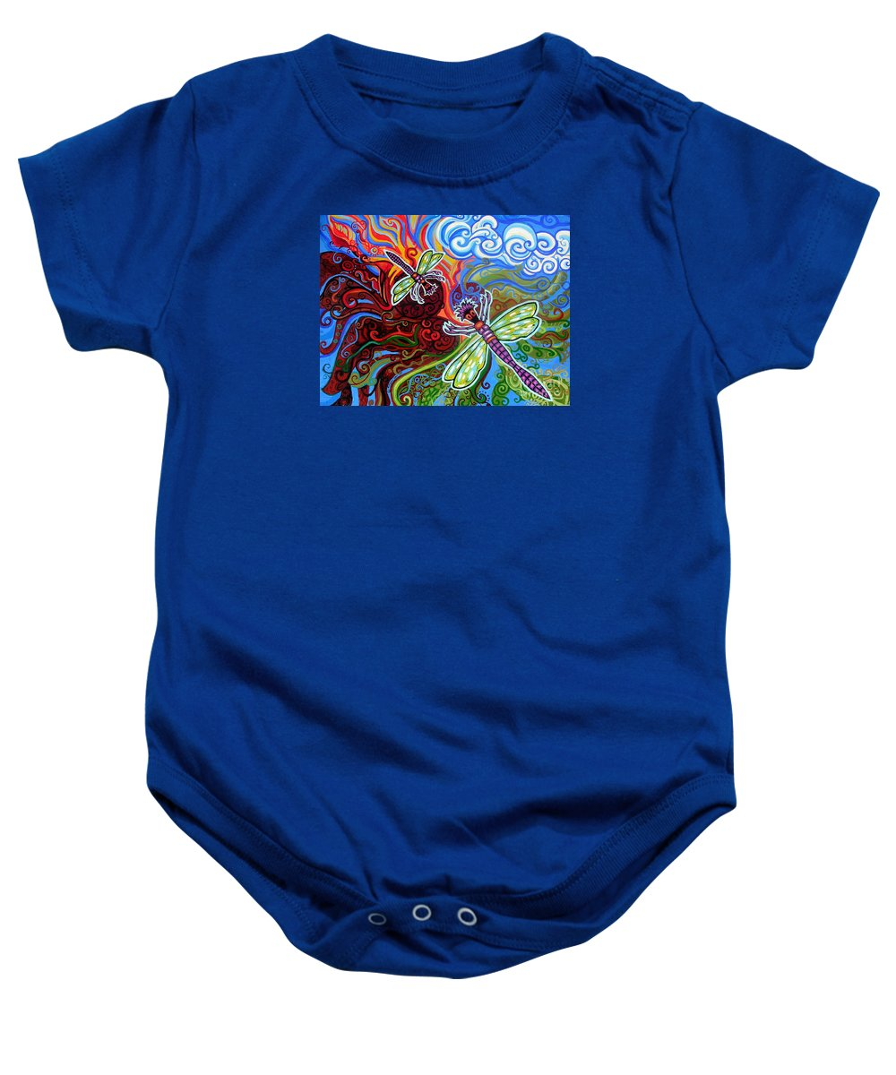 Dragonfly Baby Onesie featuring the painting Two Dragonflies by Genevieve Esson