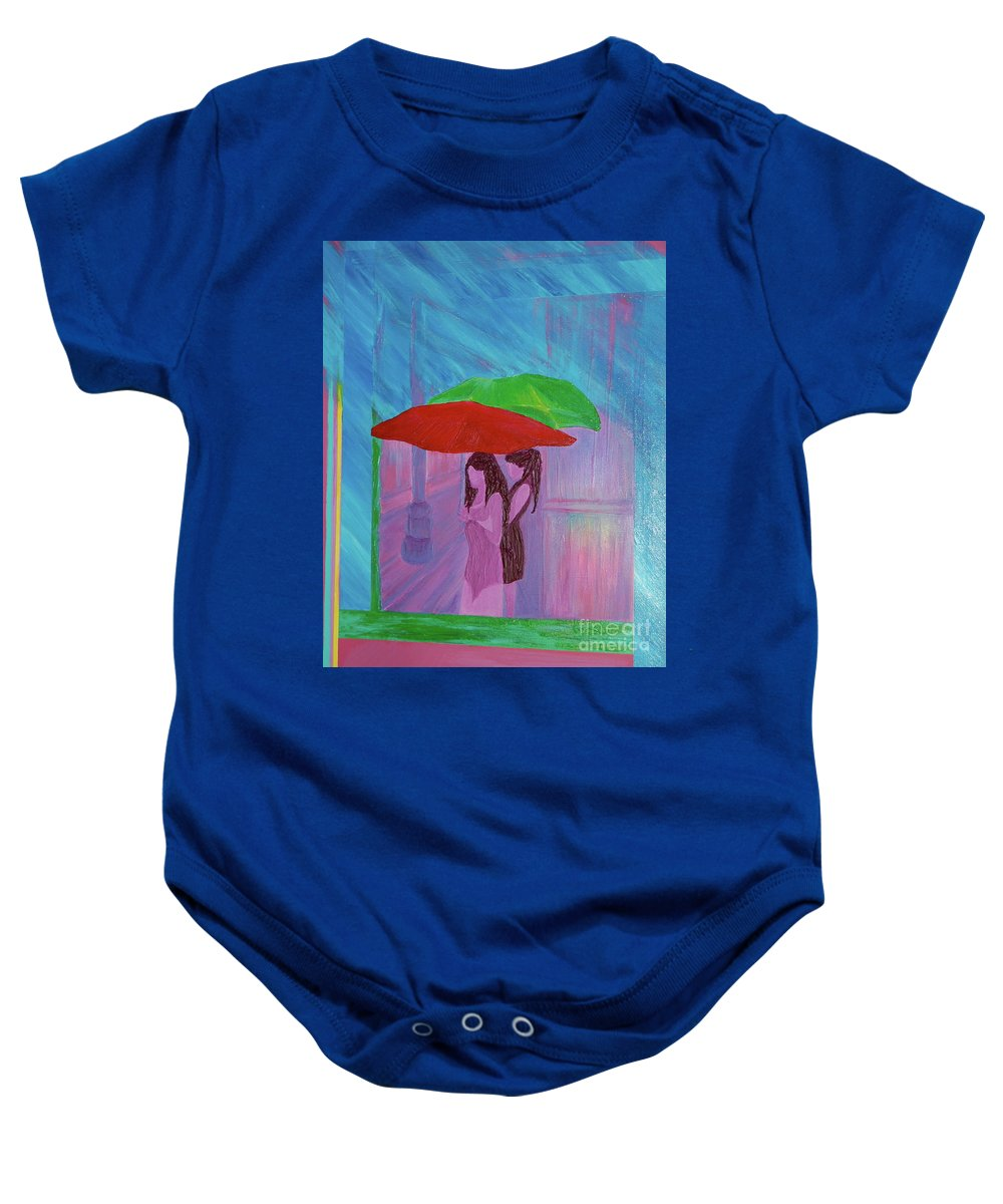 Umbrellas Baby Onesie featuring the painting Umbrella Girls by First Star Art