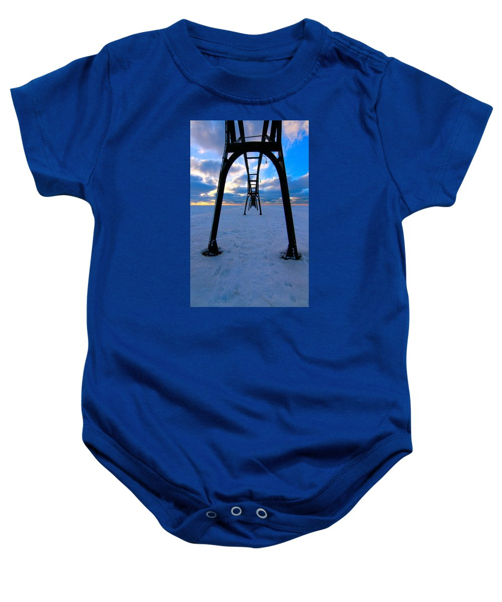 Horizon Baby Onesie featuring the photograph Under The Pier In St. Joseph At Sunset by Dan Sproul