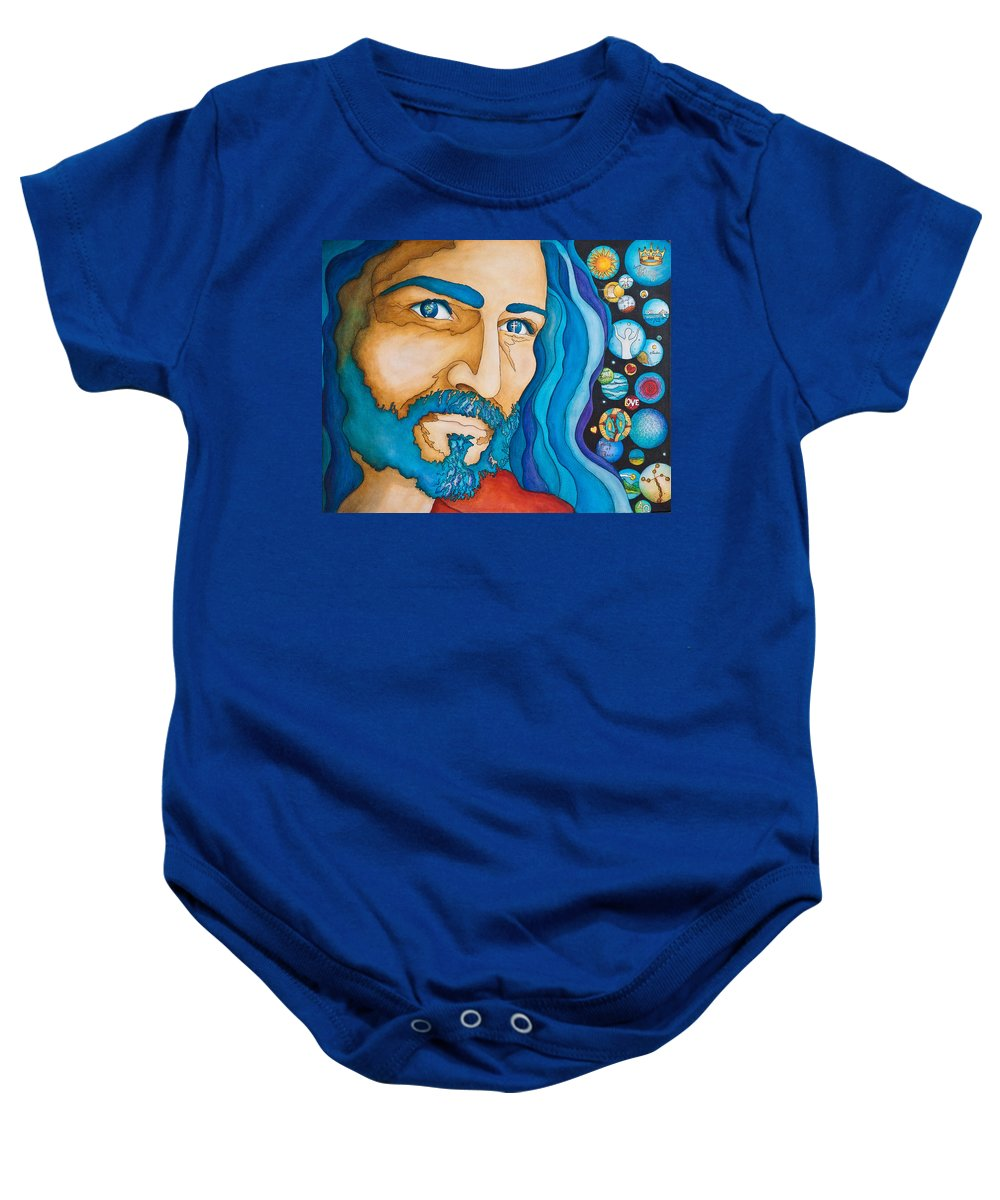 Jesus Baby Onesie featuring the painting Unfailing Love by Margarita Puckett