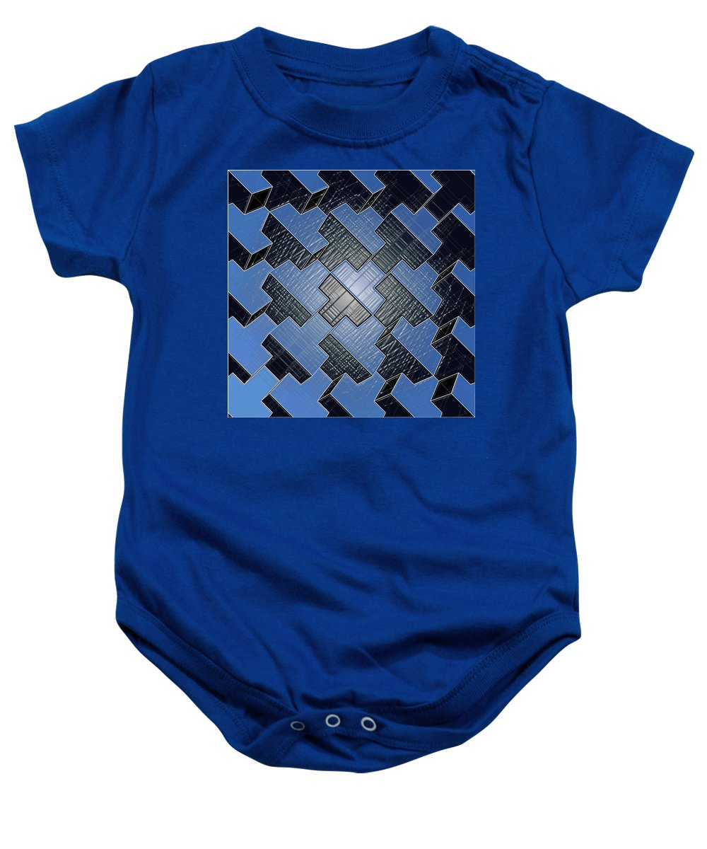Abstract Baby Onesie featuring the digital art Urban Blue City Boxes Cube Leather by Nenad Cerovic