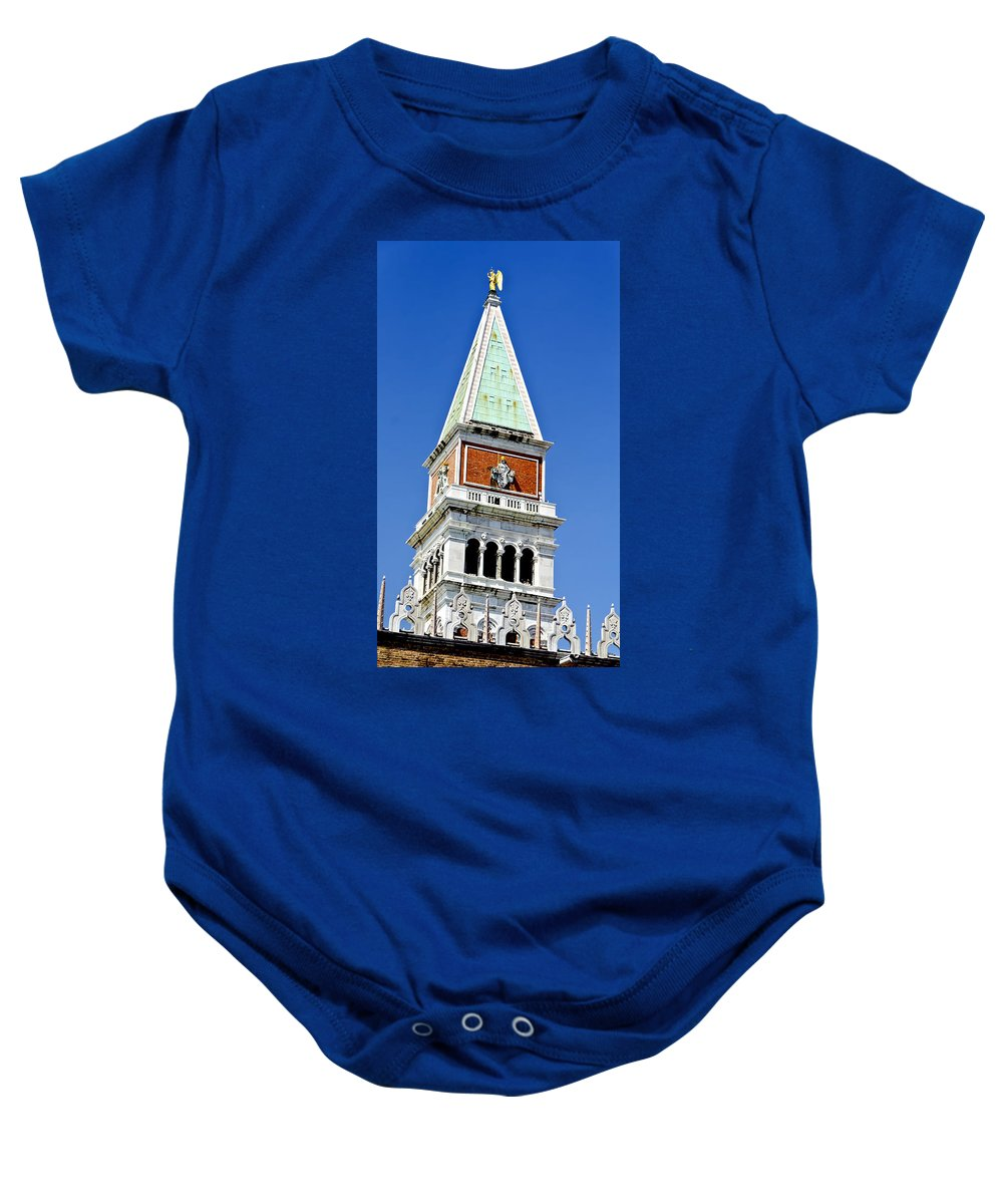 Venice Italy Baby Onesie featuring the photograph Venice Italy - St Marks Square Tower by Jon Berghoff