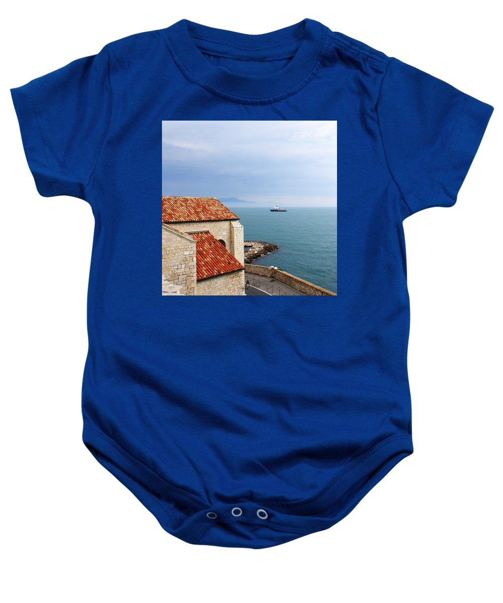 French Riviera Baby Onesie featuring the photograph View Of Mediterranean In Antibes France by Ben and Raisa Gertsberg