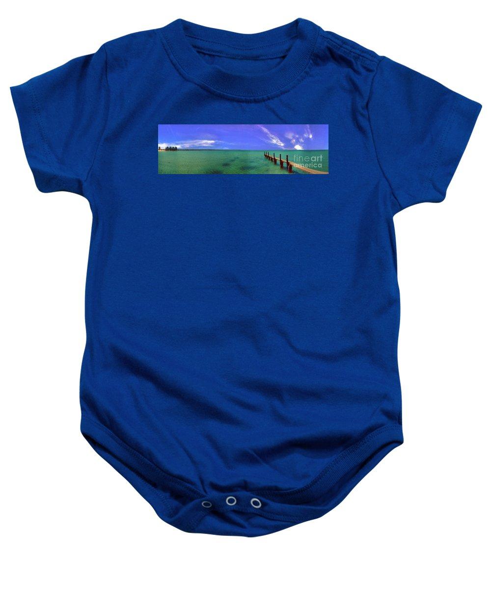 Western Australia; Beach Perth Panorama; Margaret River; Southern Hemisphere; Longest Wooden Jetty Baby Onesie featuring the photograph Western Australia Busselton Jetty by David Zanzinger