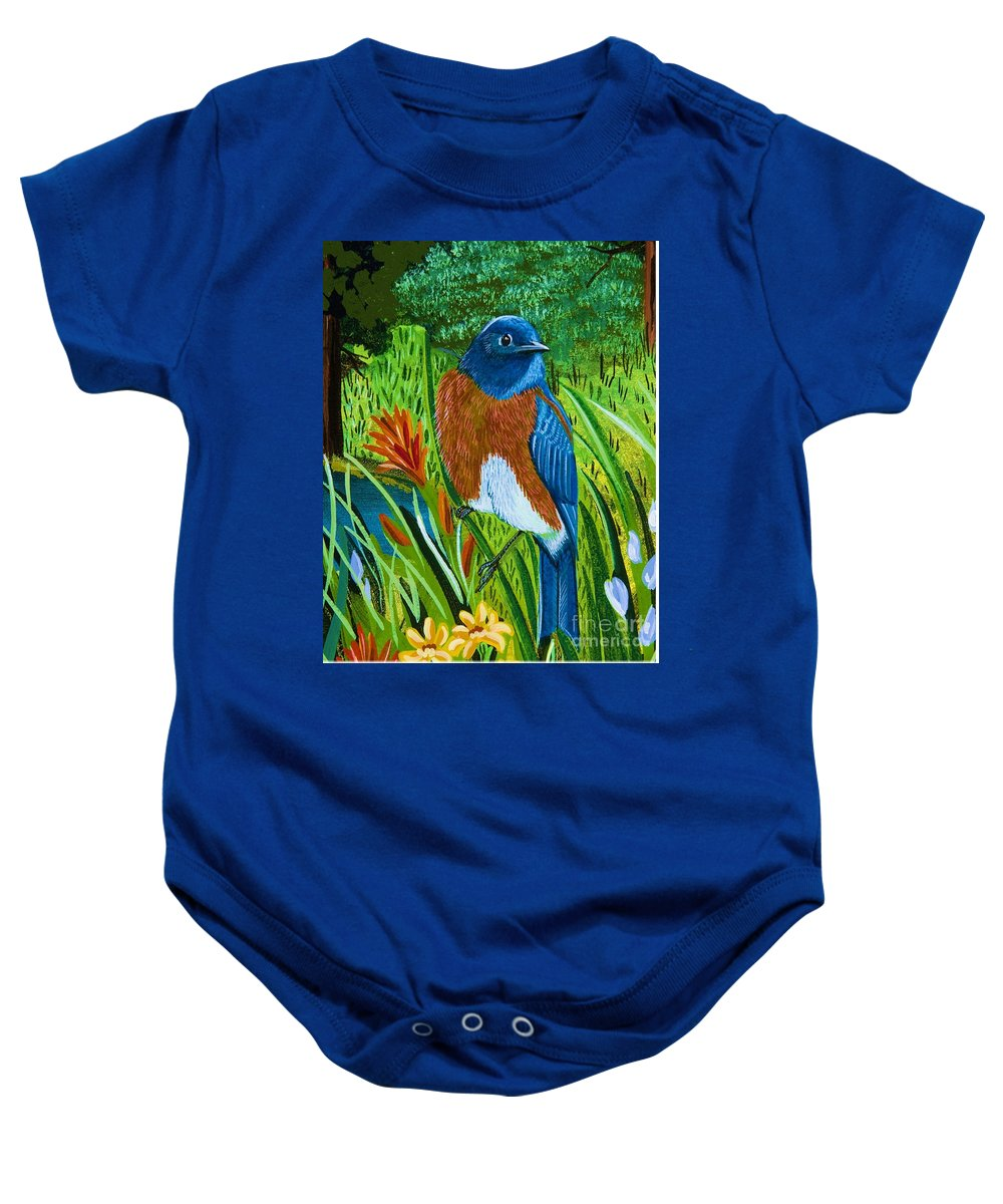 Western Bluebird Baby Onesie featuring the painting Western Bluebird by Jennifer Lake