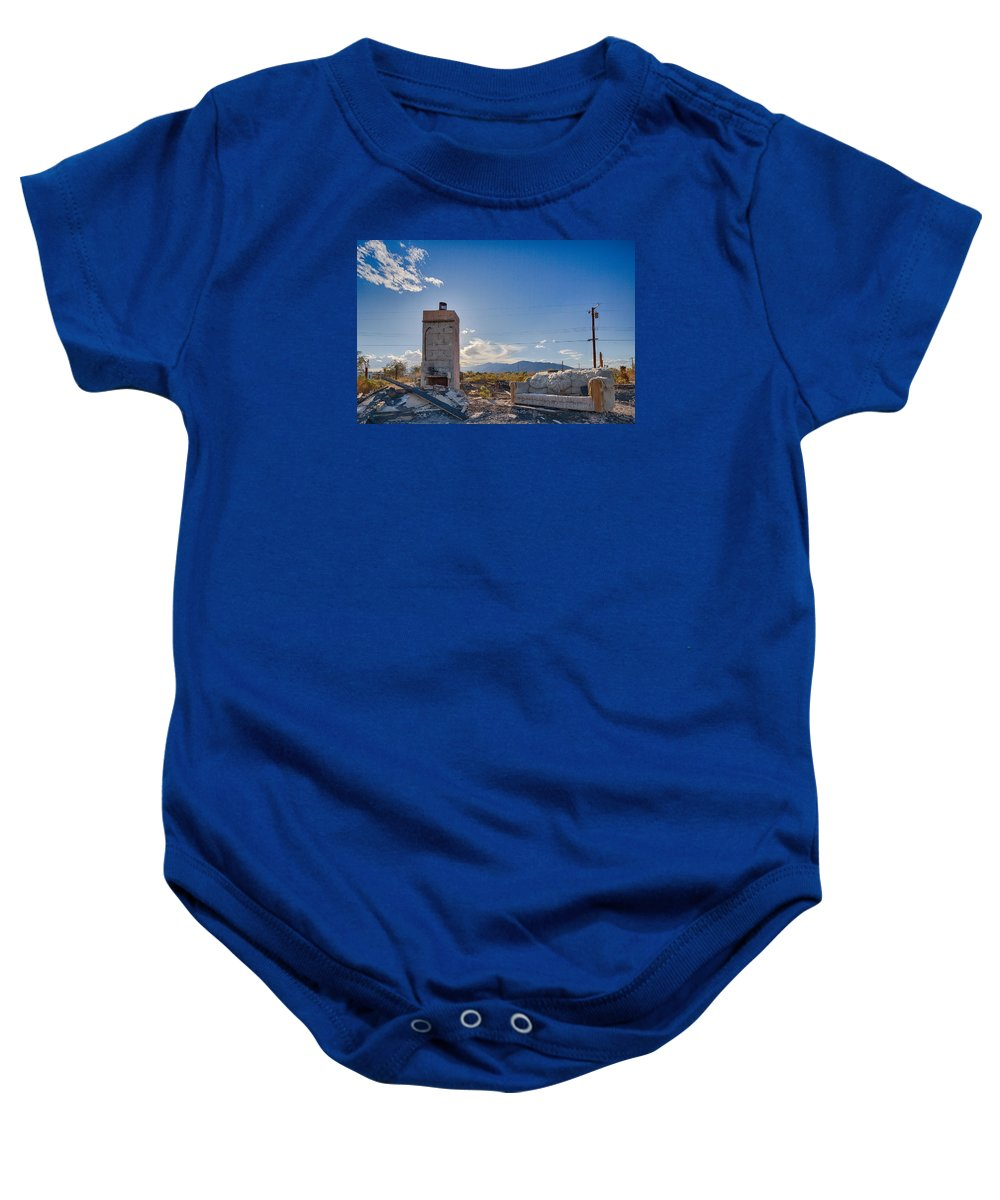 Burnt House Baby Onesie featuring the photograph What Once Was by Scott Campbell