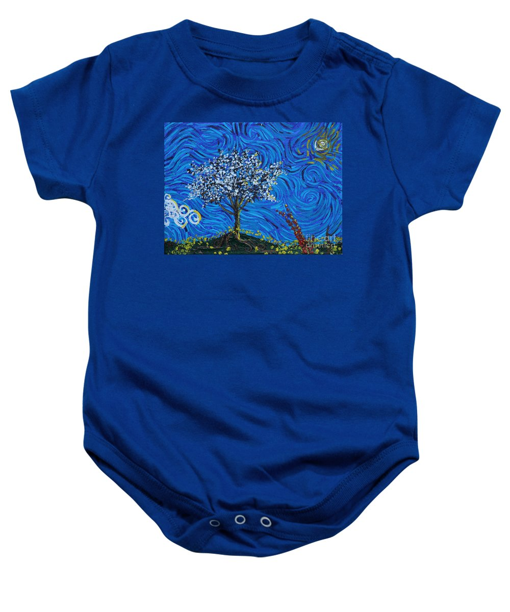 Landscape Baby Onesie featuring the painting When Squiggles Swim by Stefan Duncan