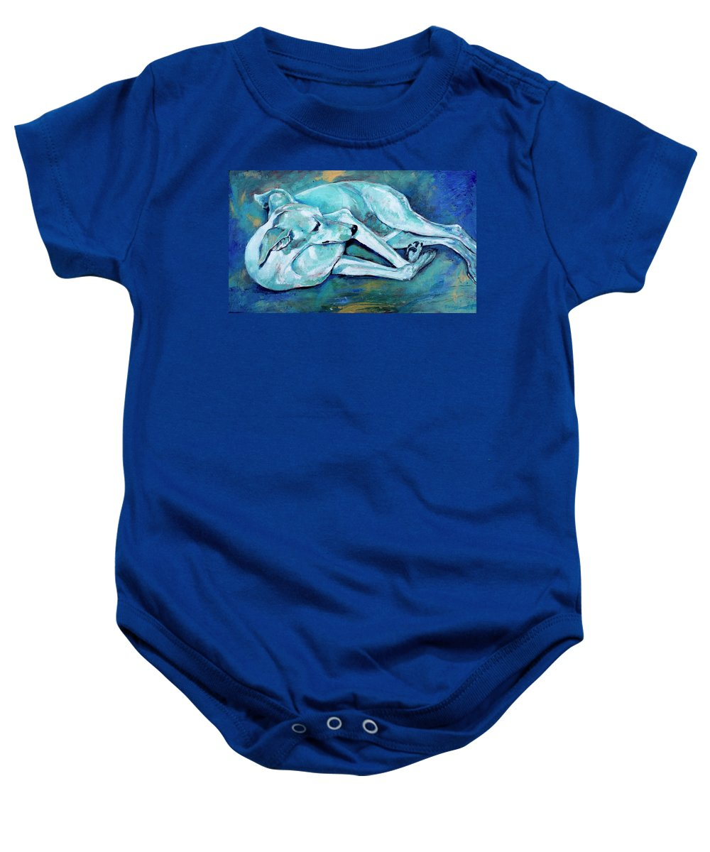 Dog Baby Onesie featuring the painting Whippet-effects Of Gravity-3 by Derrick Higgins