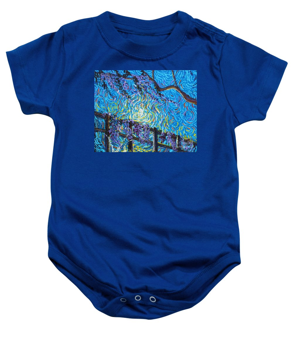 Landscape Baby Onesie featuring the painting Whisp On A Fence by Stefan Duncan