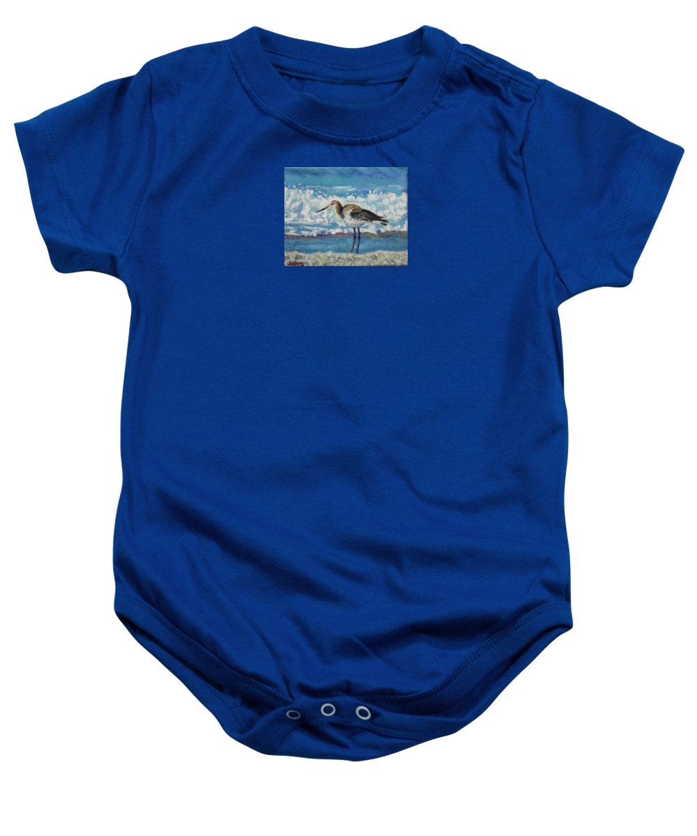 Wildlife Baby Onesie featuring the painting Willet by Sharon Guy