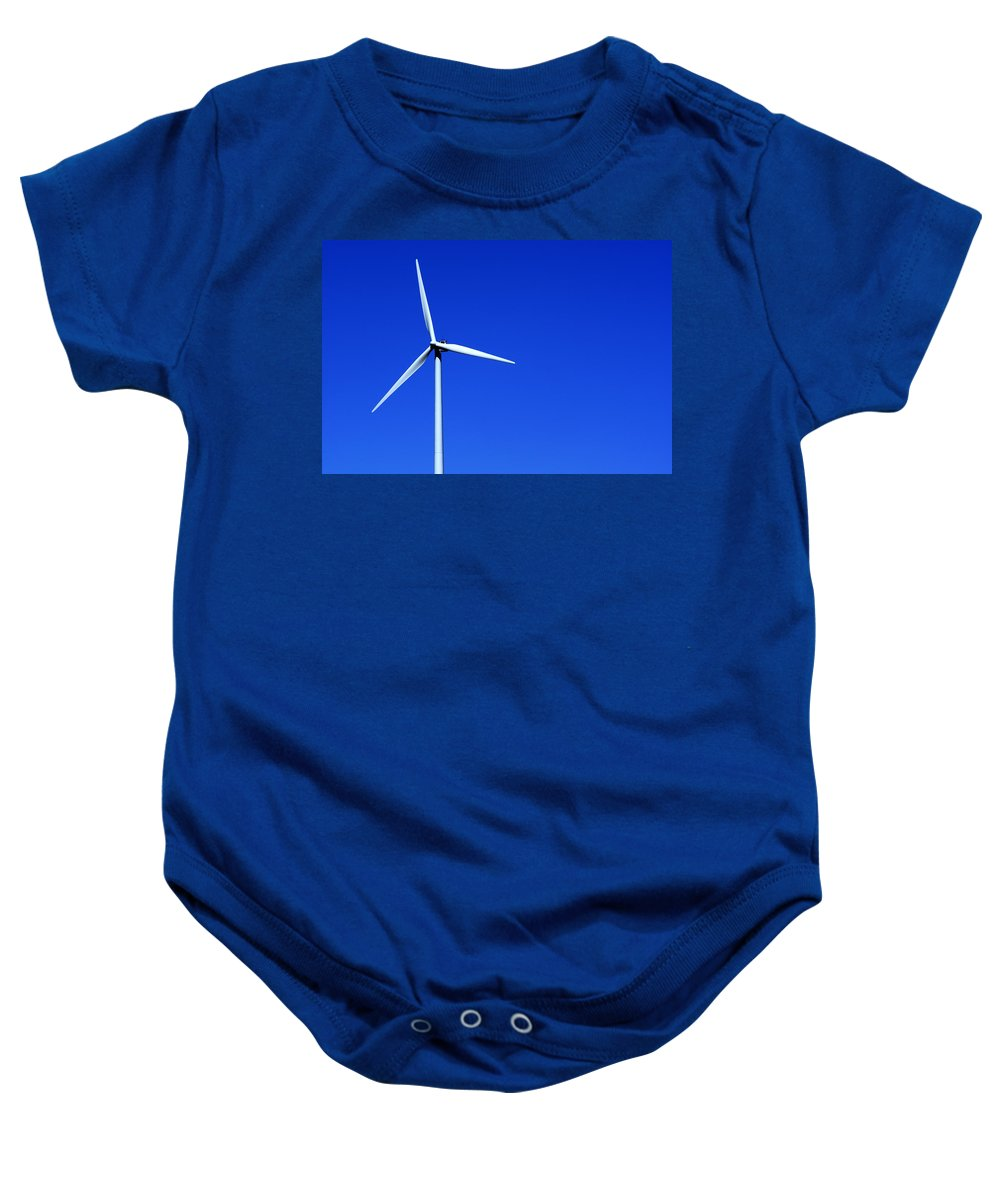 Wind Baby Onesie featuring the photograph Wind Powered Electric Turbine by Donald Erickson