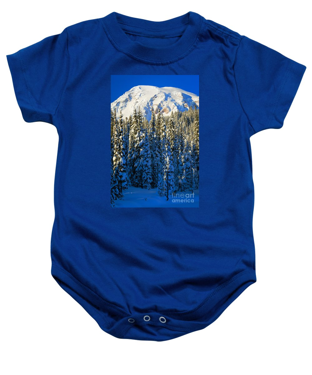 America Baby Onesie featuring the photograph Winter Peak by Inge Johnsson
