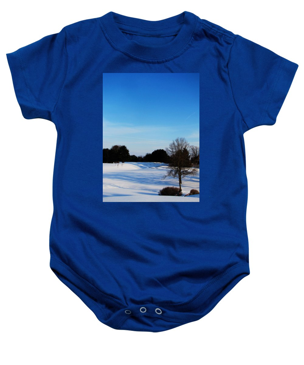 Ron Tackett Baby Onesie featuring the photograph Winter Shadows by Ron Tackett