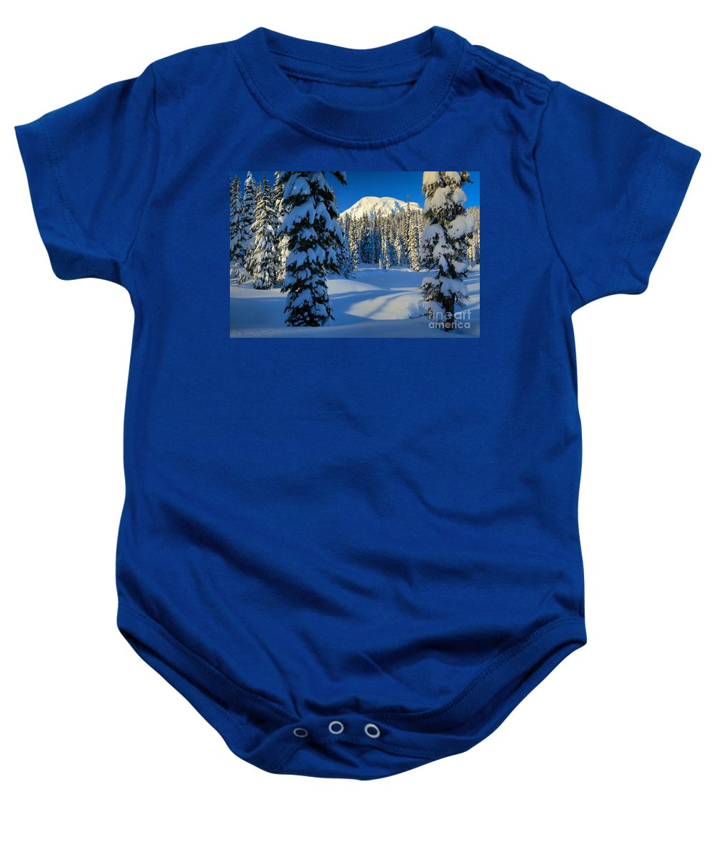 America Baby Onesie featuring the photograph Winter Trees by Inge Johnsson